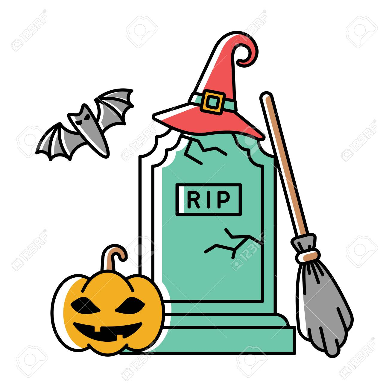 Bright cartoon style halloween illustration with gravestone, pumpkin and other - 130984733