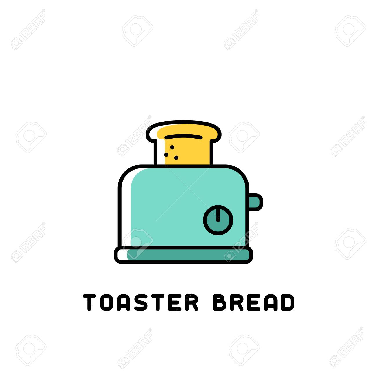 toaster bread icon in bright contour style on white background - 130984751