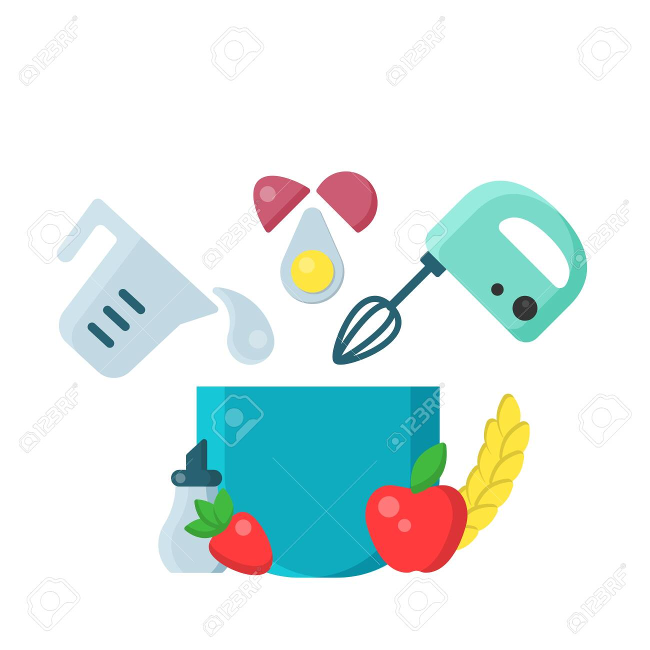 culinary bright vector concept with mixer and baking products in flat style on white background - 130984753