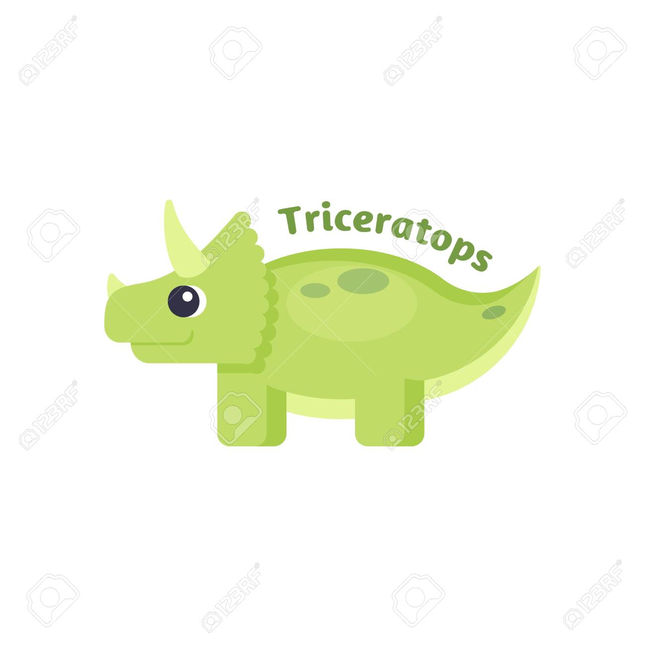 Funny triceratops in cartoon style on white background. Suitable for childish decor - 132360520