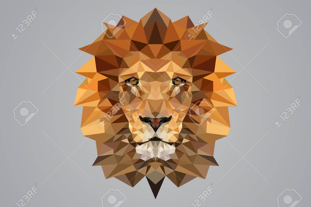 Low Poly Lion Vector Stock
