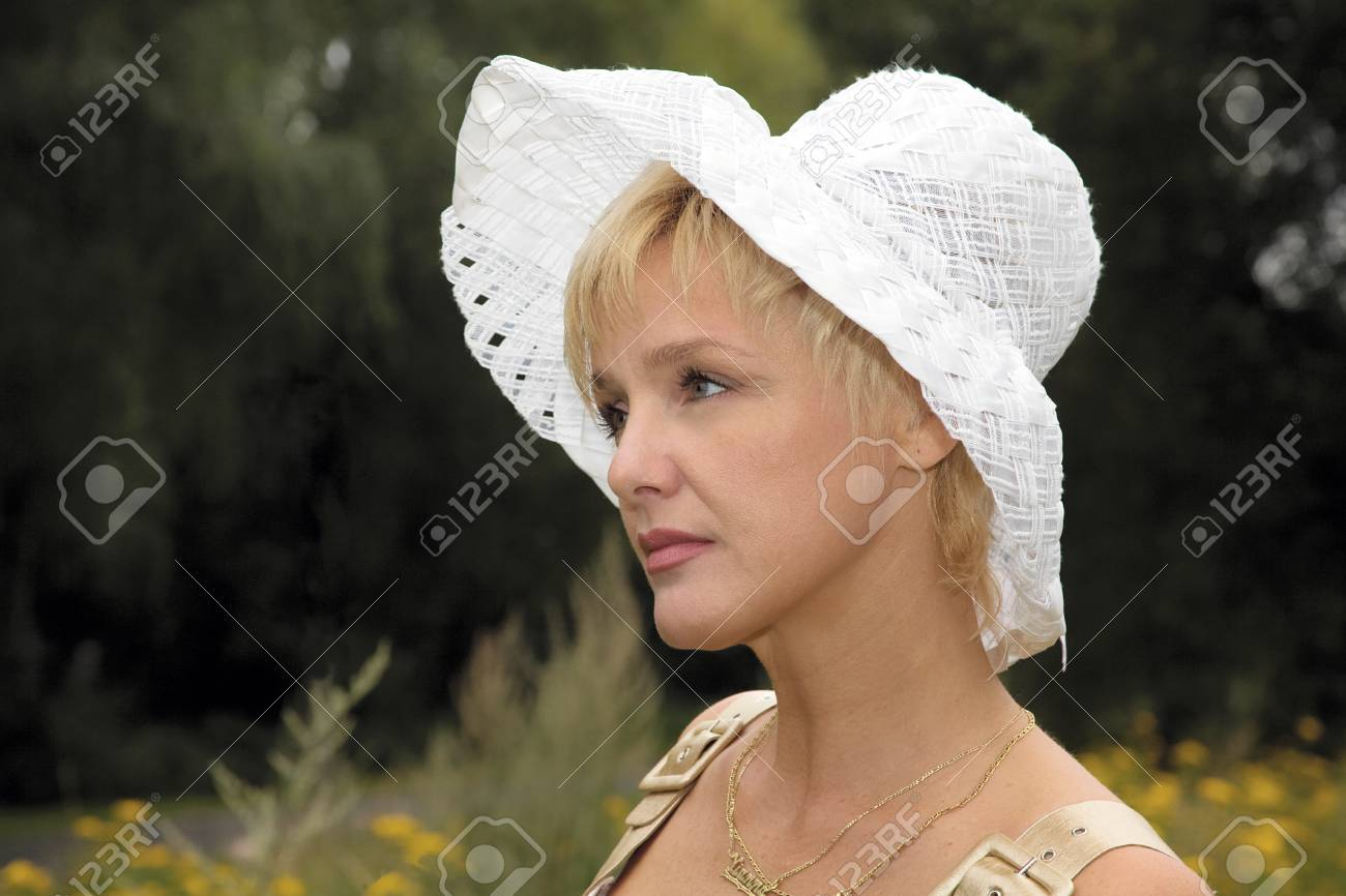 blonde woman in a white hat Stock Photo - 1483188