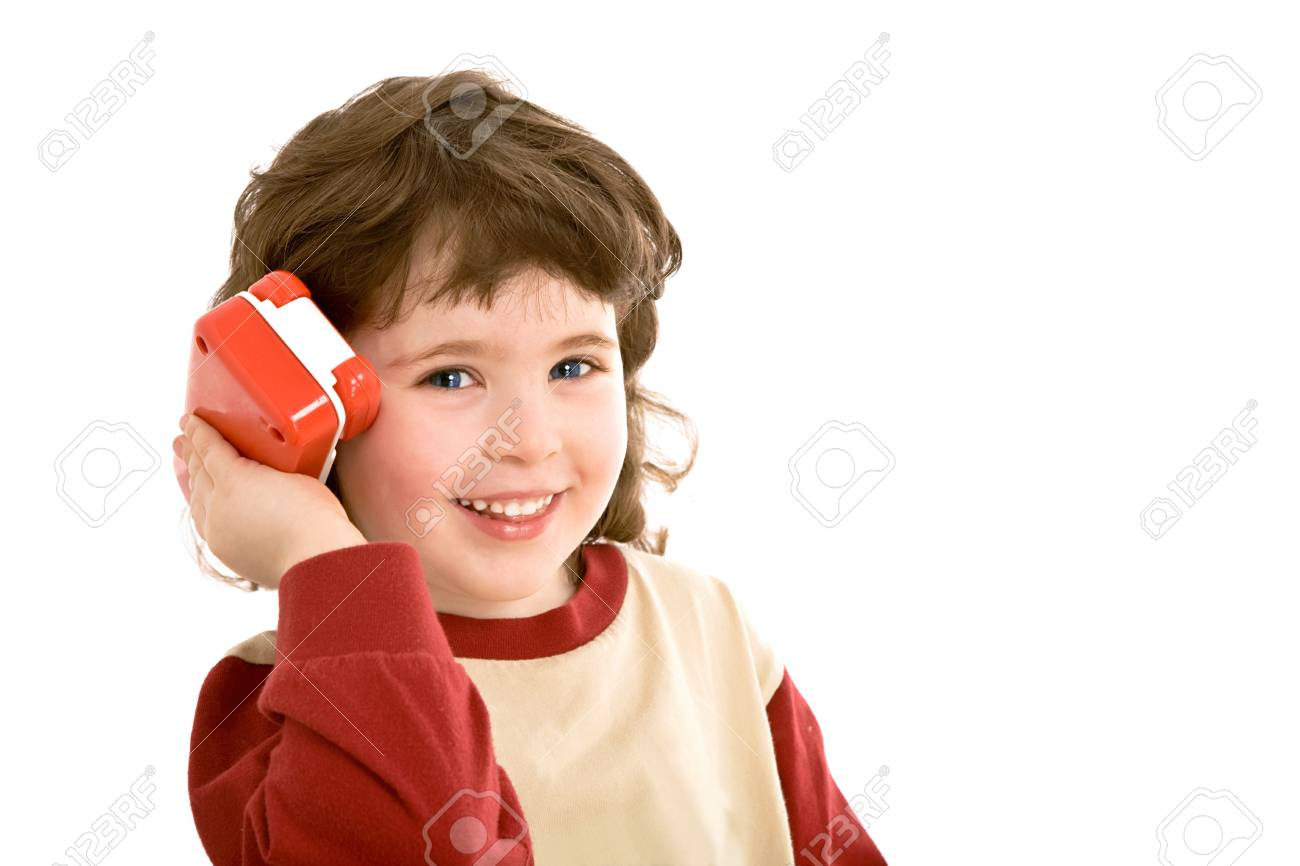 child with a toy telephone Stock Photo - 3235816