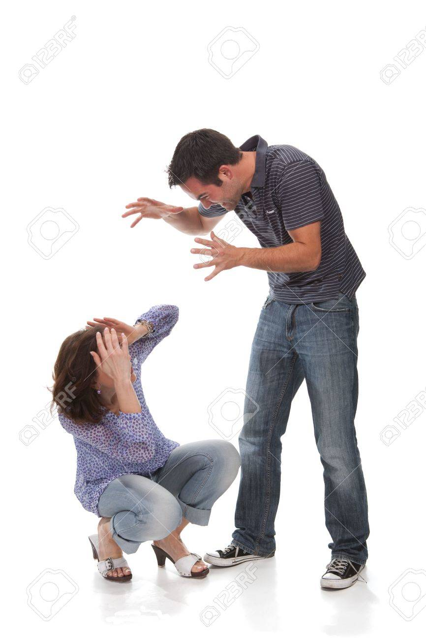 Angry couple yelling at each other Stock Photo - 5052552