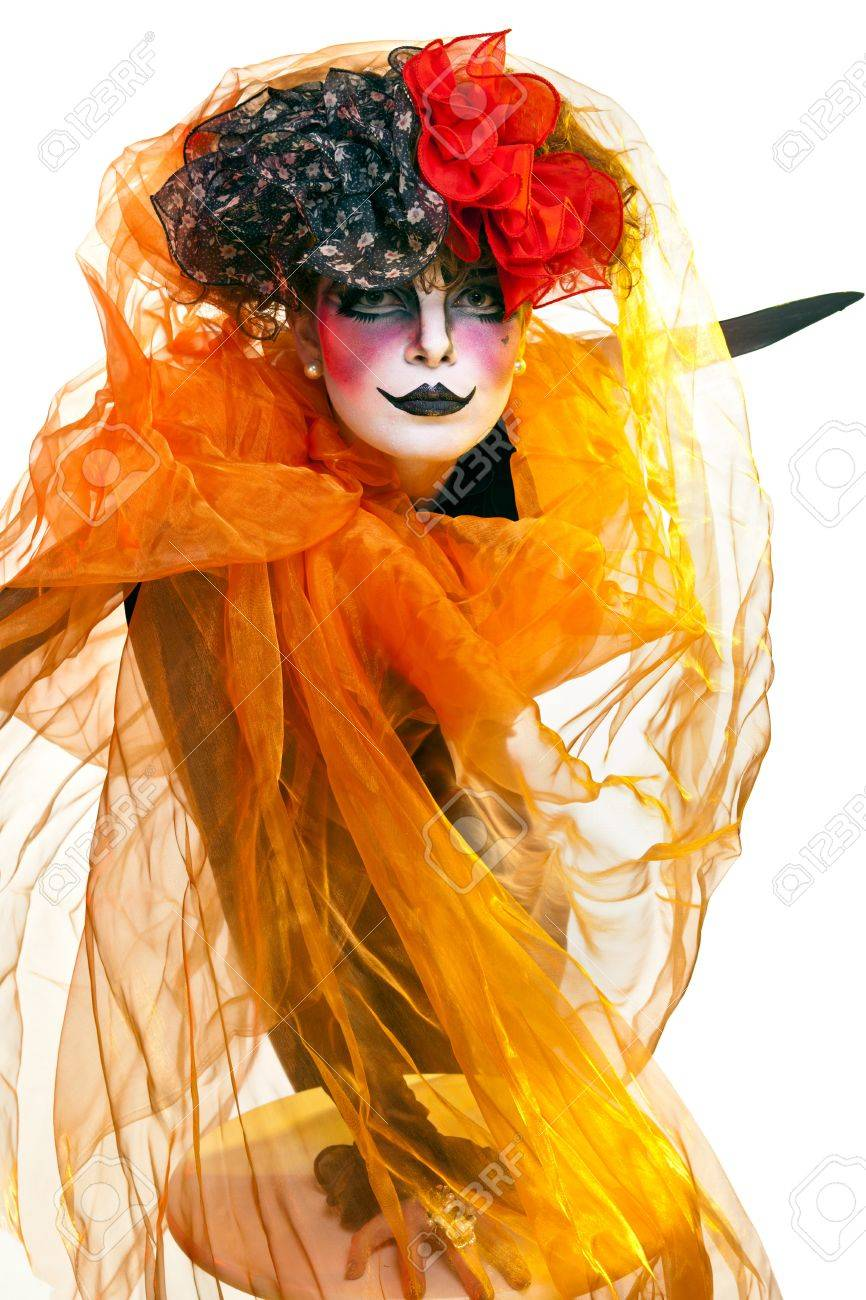 woman mime with theatrical makeup Stock Photo - 10284528