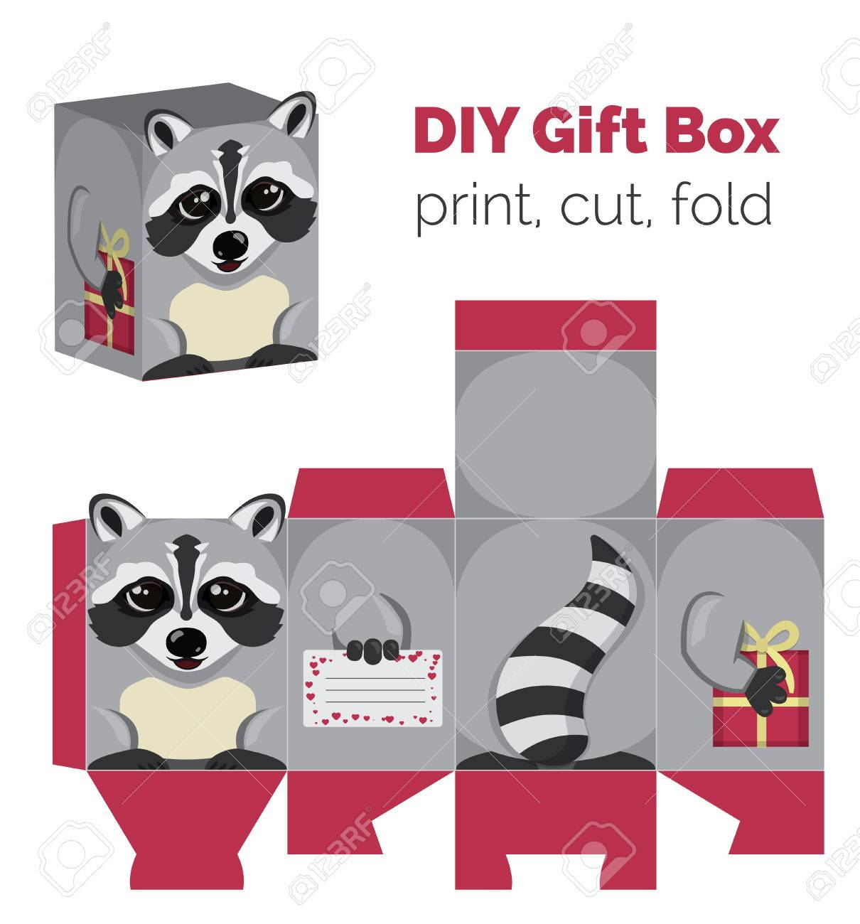 Adorable Do It Yourself Raccoon Gift Box With Ears For Sweets