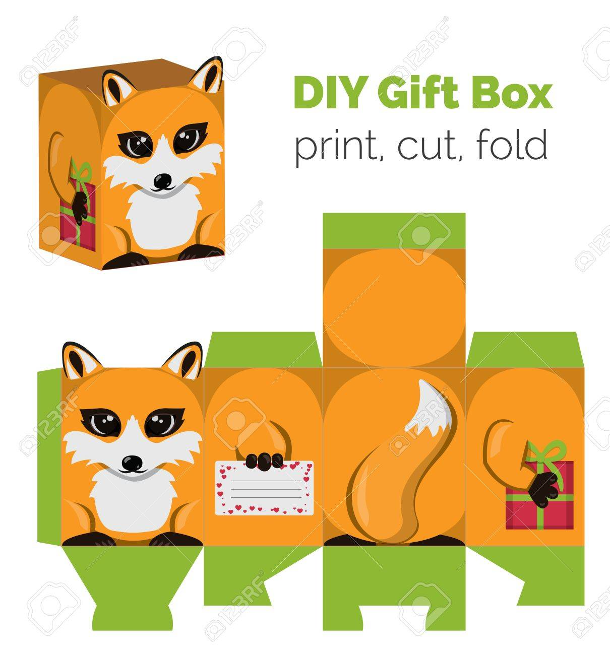 Adorable Do It Yourself DIY fox gift box with ears for sweets, candies, small presents. Printable color scheme. Print it on thick paper, cut out, fold according to the lines. - 52253733