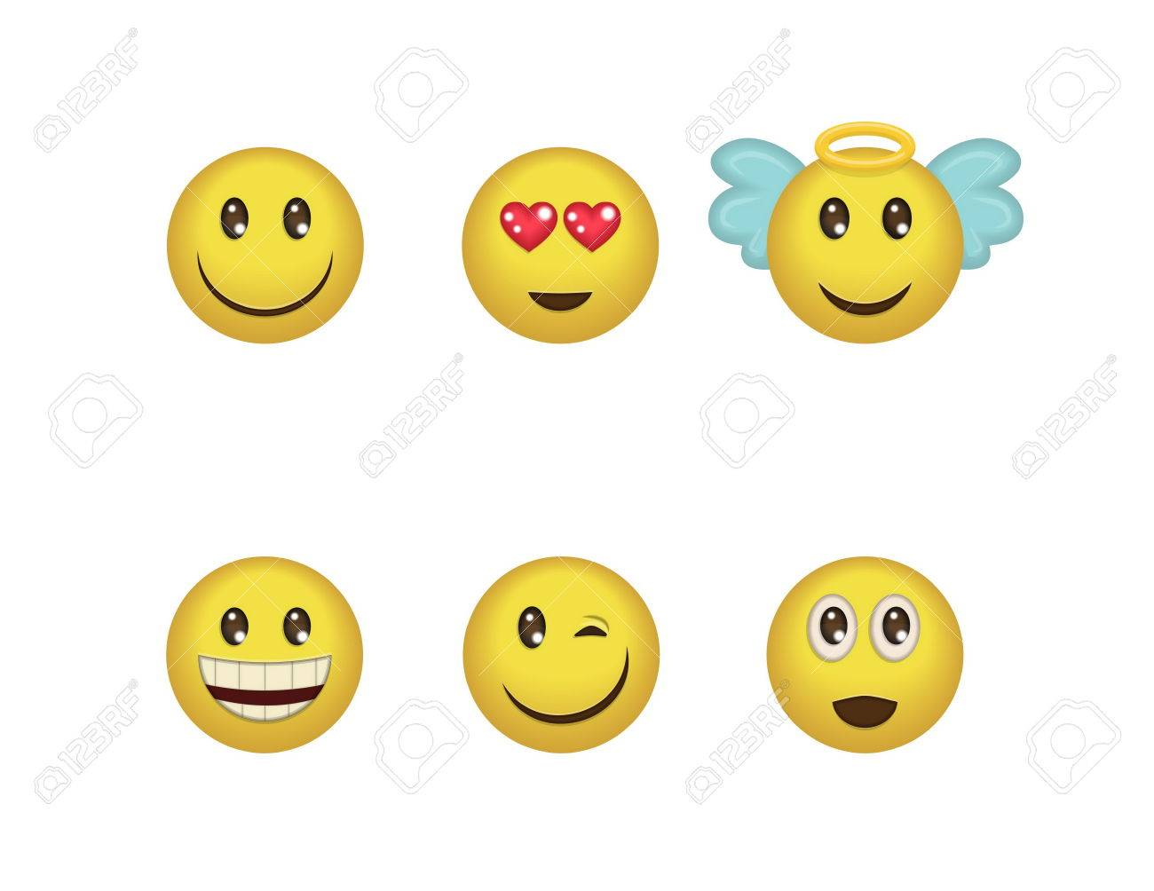 A set of fun positive emoticon expressions. Smile, wink, angel, surprised, in love, laugh smileys included - 52472312