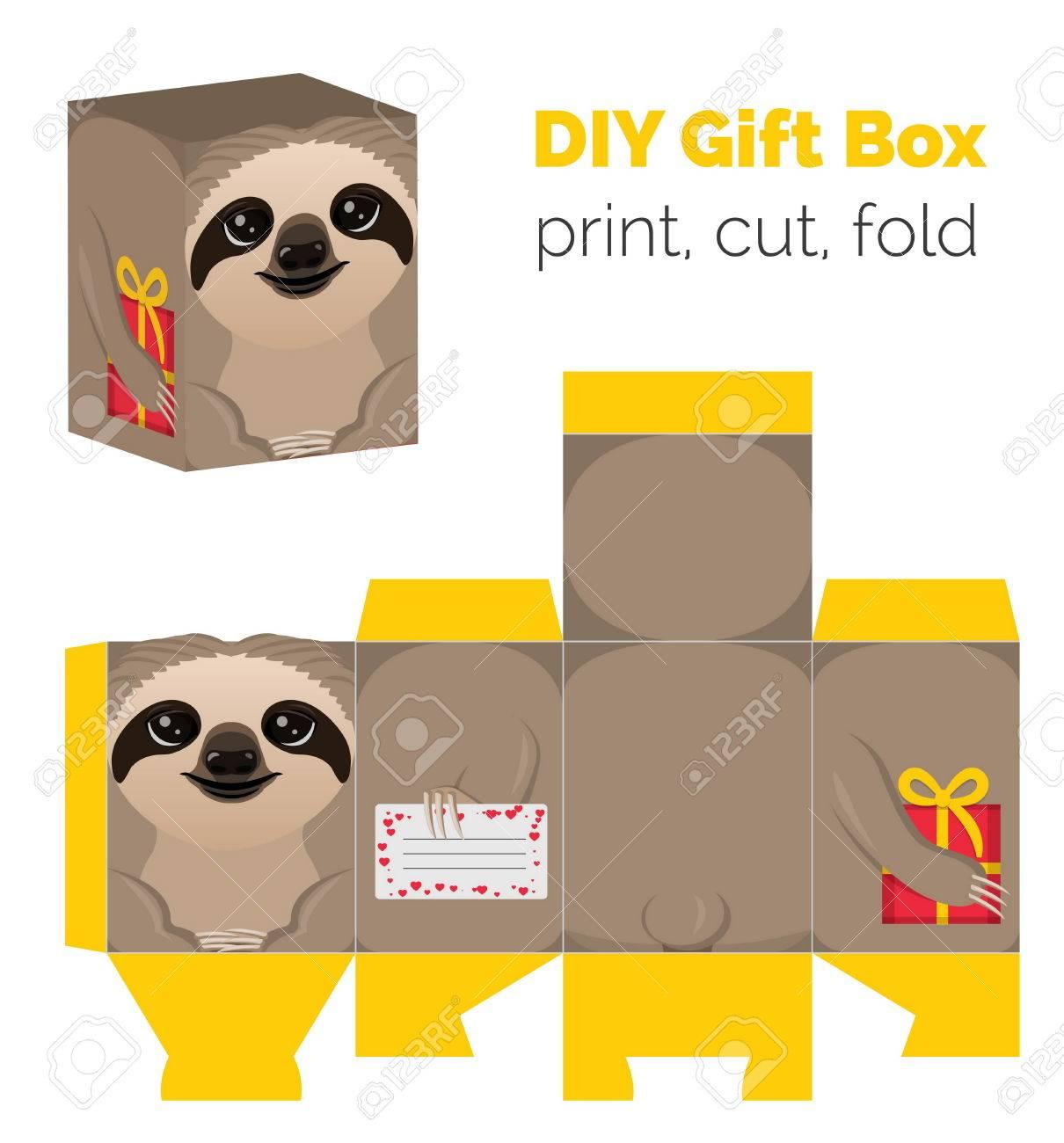 Adorable do it yourself diy sloth gift box for sweets candies adorable do it yourself diy sloth gift box for sweets candies small presents solutioingenieria Choice Image