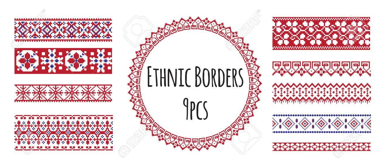 Un Conjunto De Fronteras Sin Costura Eslavo Del Bordado ...
