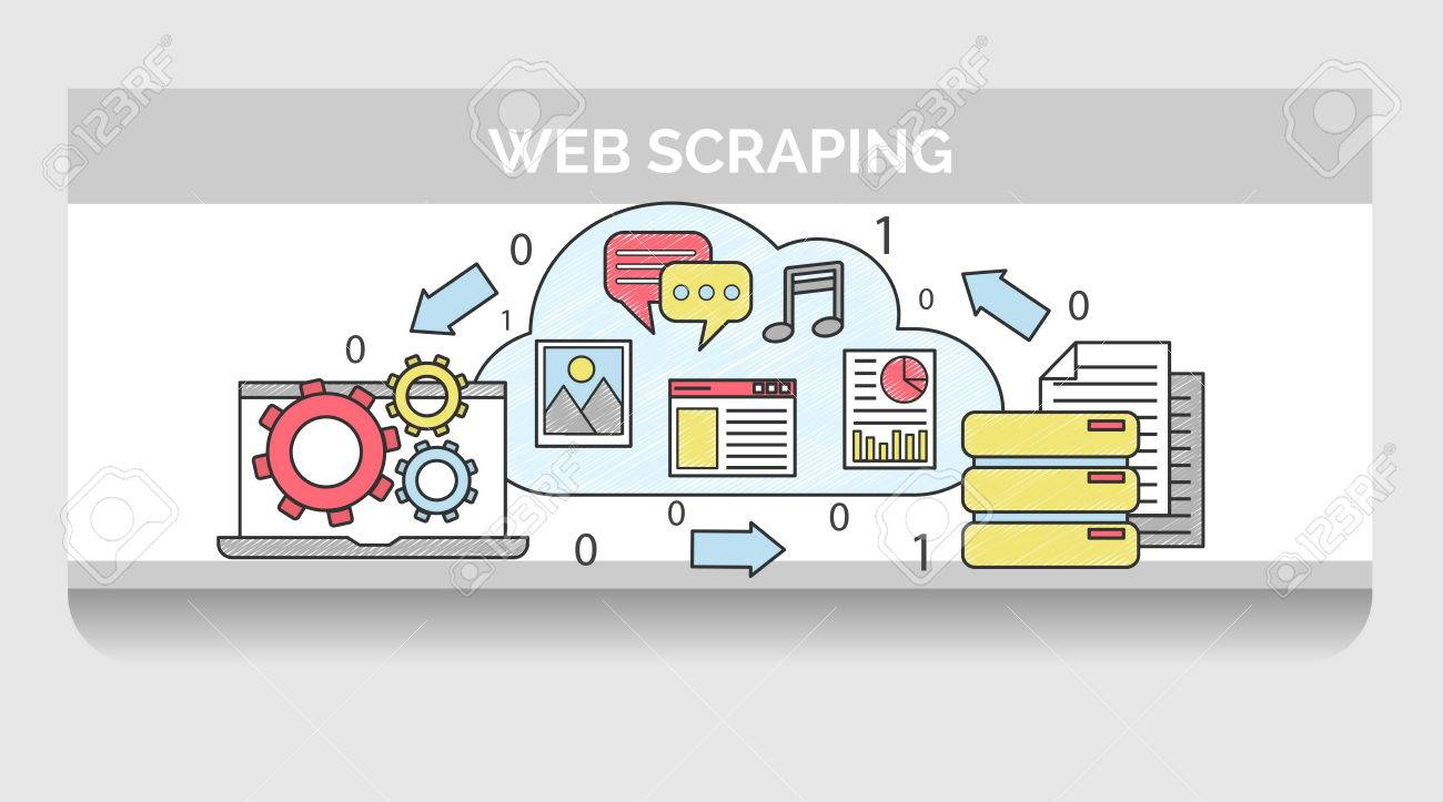 Scribble header horizontal banner illustration for web scraping