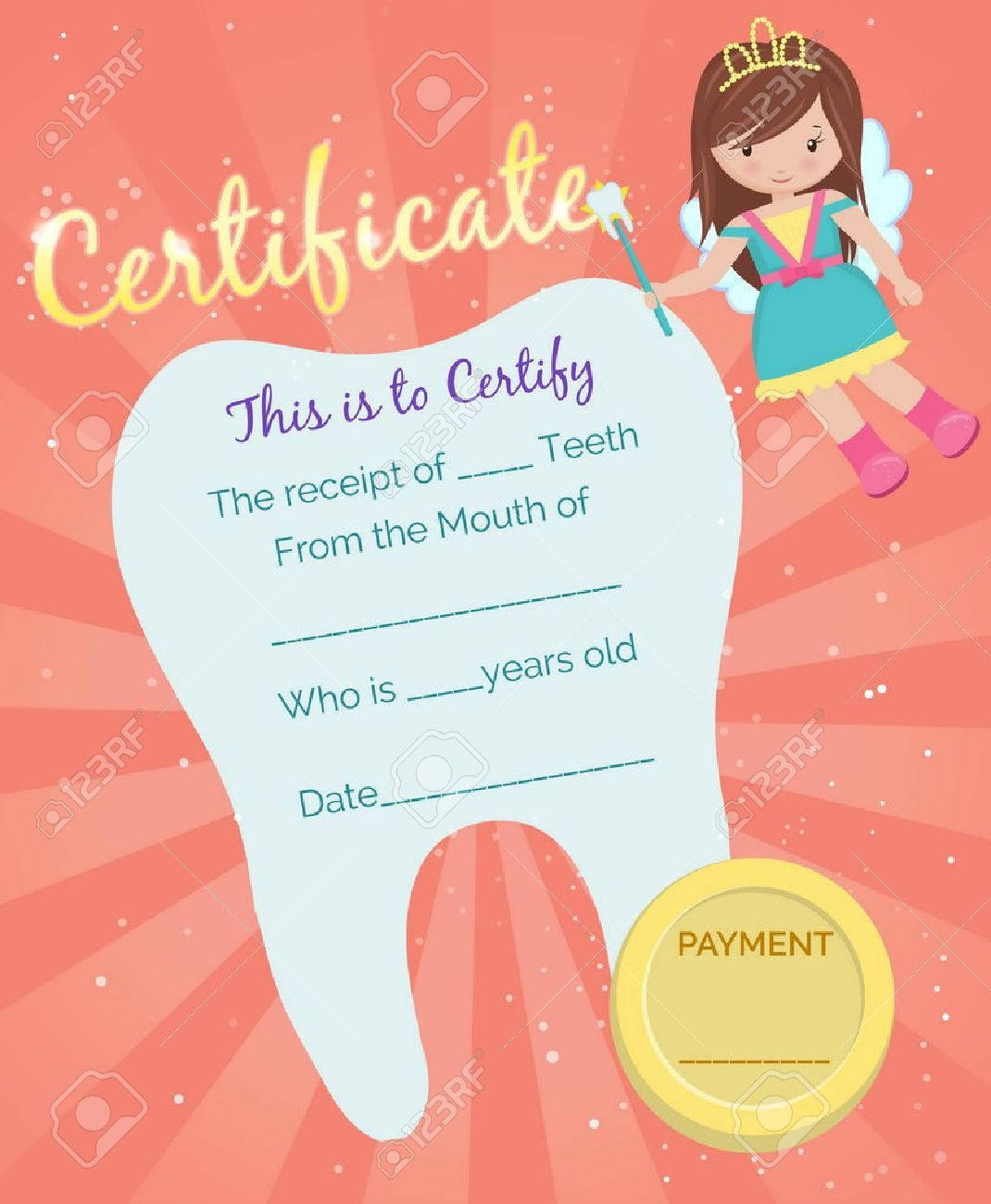 Cute Tooth Fairy Receipt Certificate Template With Sparkling ...