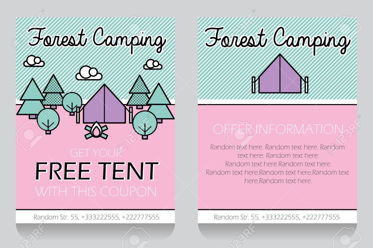 Trendy Minimalistic Icon Style Outdoor Forest Camping Themed ...
