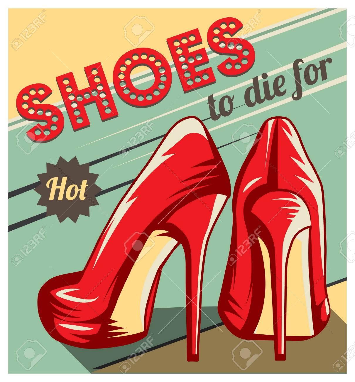 Affiche vintage de style rétro, modèle publicitaire, carte d'amusement avec une paire de talons rouges chaussures à talons et des chaussures à mourir