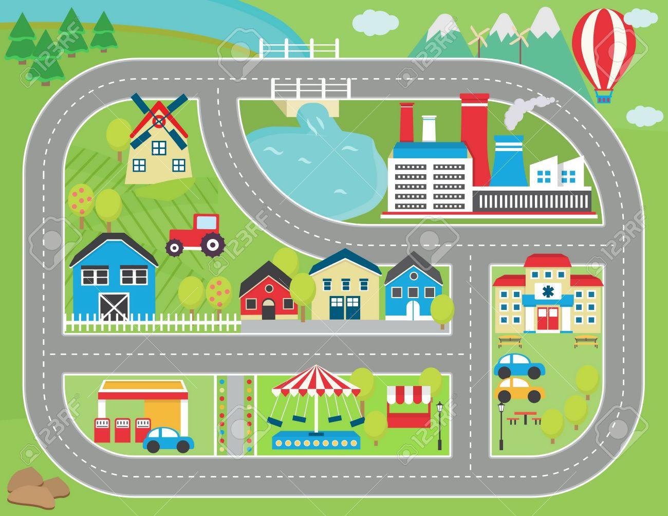 precioso paisaje de la ciudad alfombra de juego pista de coches para la actividad de los