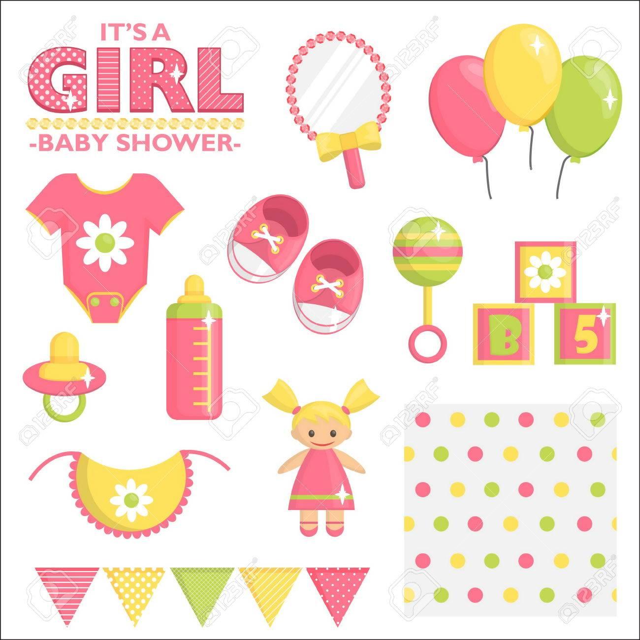 7c0931b9d Elementos De Diseño De Tarjetas E Invitaciones. Ropa De Bebé De Color Rosa