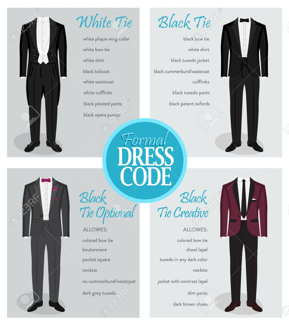 Formal Dress Code Guide Information Chart For Men. Suitable Outfits ...