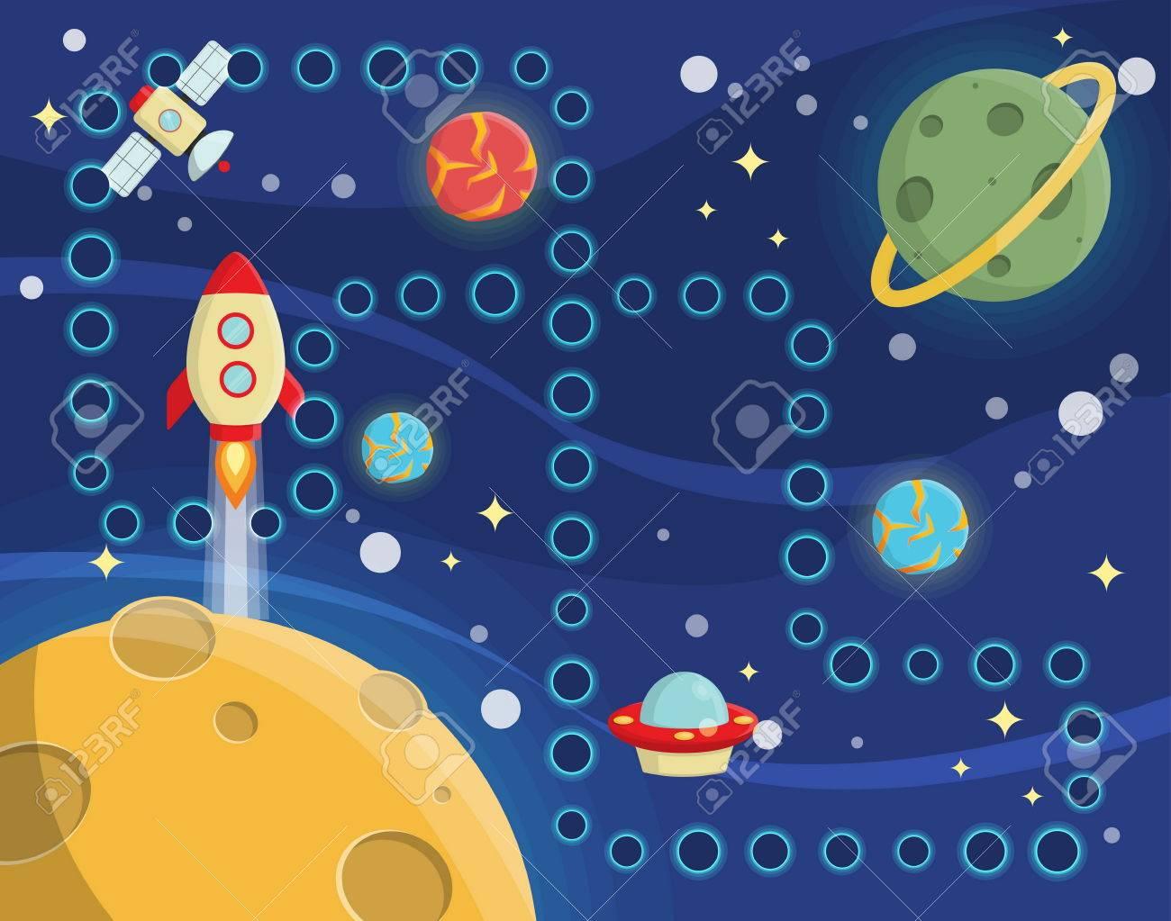 Preciosa Actividad De Juegos Para Niños Mantel Alfombra Para Las Carreras De Espacio De Juego De Competición Con El Fondo Del Espacio Exterior Planetas Solitarios Estrellas Naves Espaciales Y Satélites Ilustraciones Vectoriales