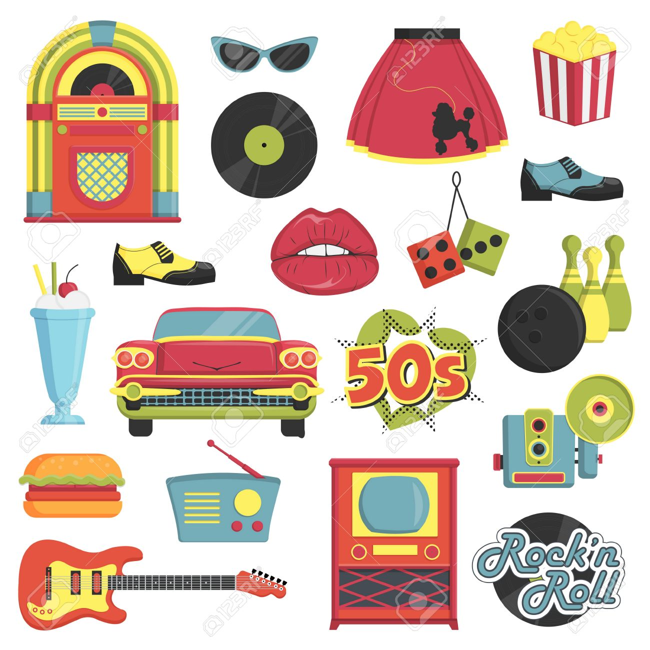 Collection of vintage retro 1950s style items that symbolize the 50s decade fashion accessories, style attributes, leisure items and innovations. - 61879223