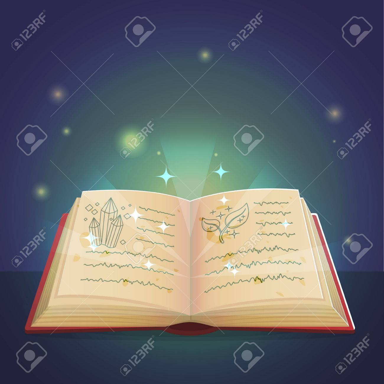 Ancient magic book with alchemy recipes and mystic spells and