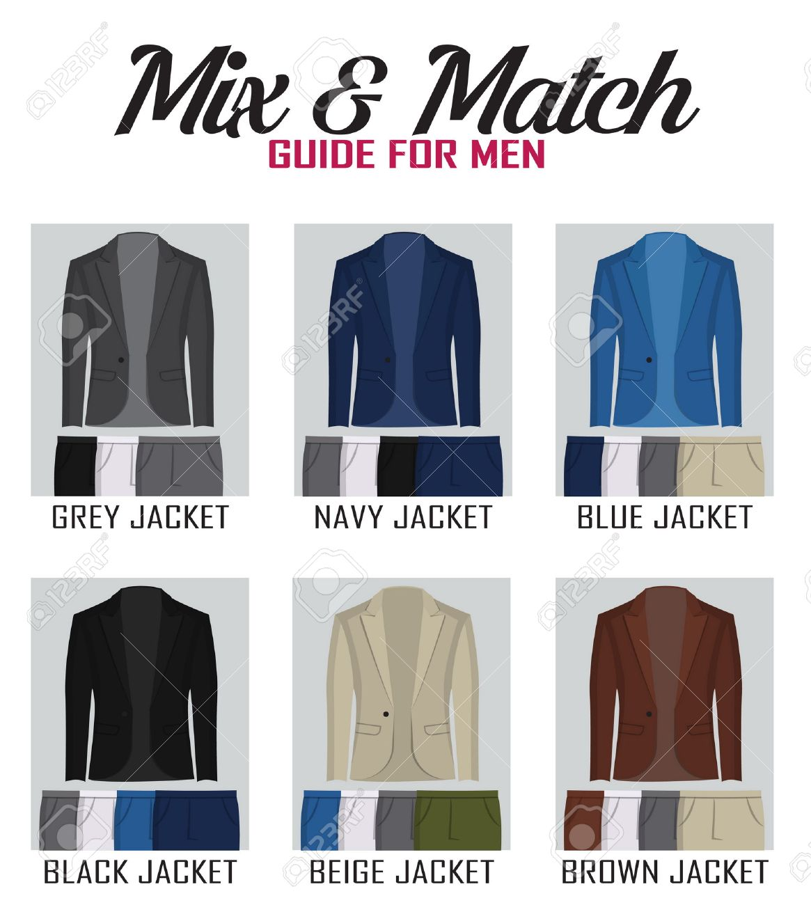 Color Mix And Match Guide For Men Jacket And Pants. Suitable ...
