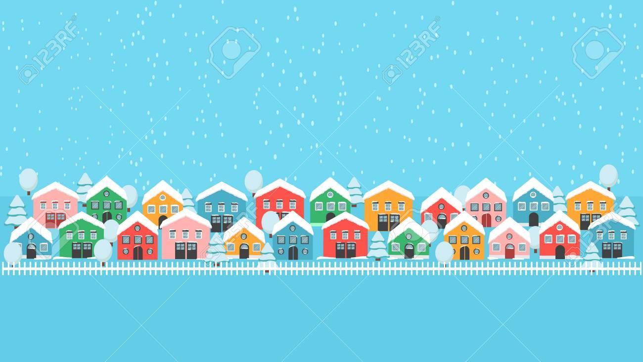 Voie De La Ville D Hiver Avec Des Maisons Lumineuses Une Cloture Et Des Arbres Blancs Un Paysage De Neige Qui Tombe Fond D Ecran De Decoration De