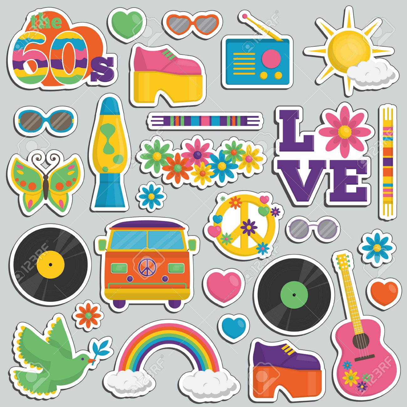 Collection of vintage retro 1960s hippie style sticker patches collection of vintage retro 1960s hippie style sticker patches that symbolize the 60s decade fashion accessories buycottarizona Choice Image