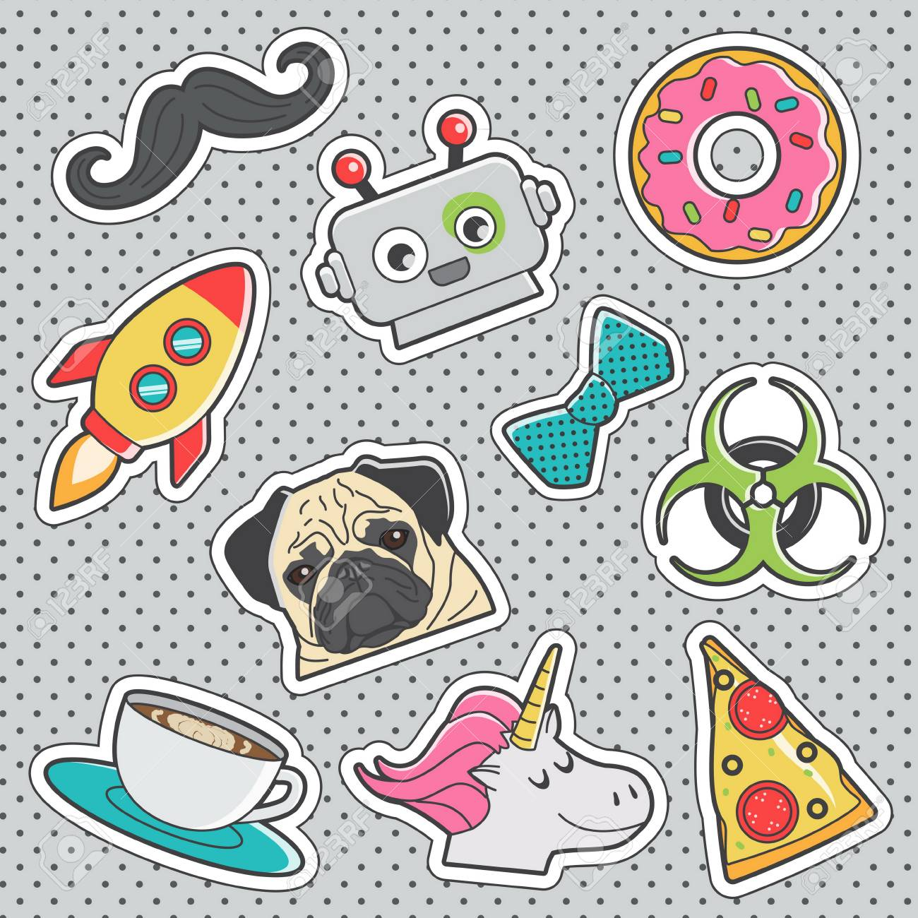 Set of fun trendy vintage sticker fashion badges withunicorn,