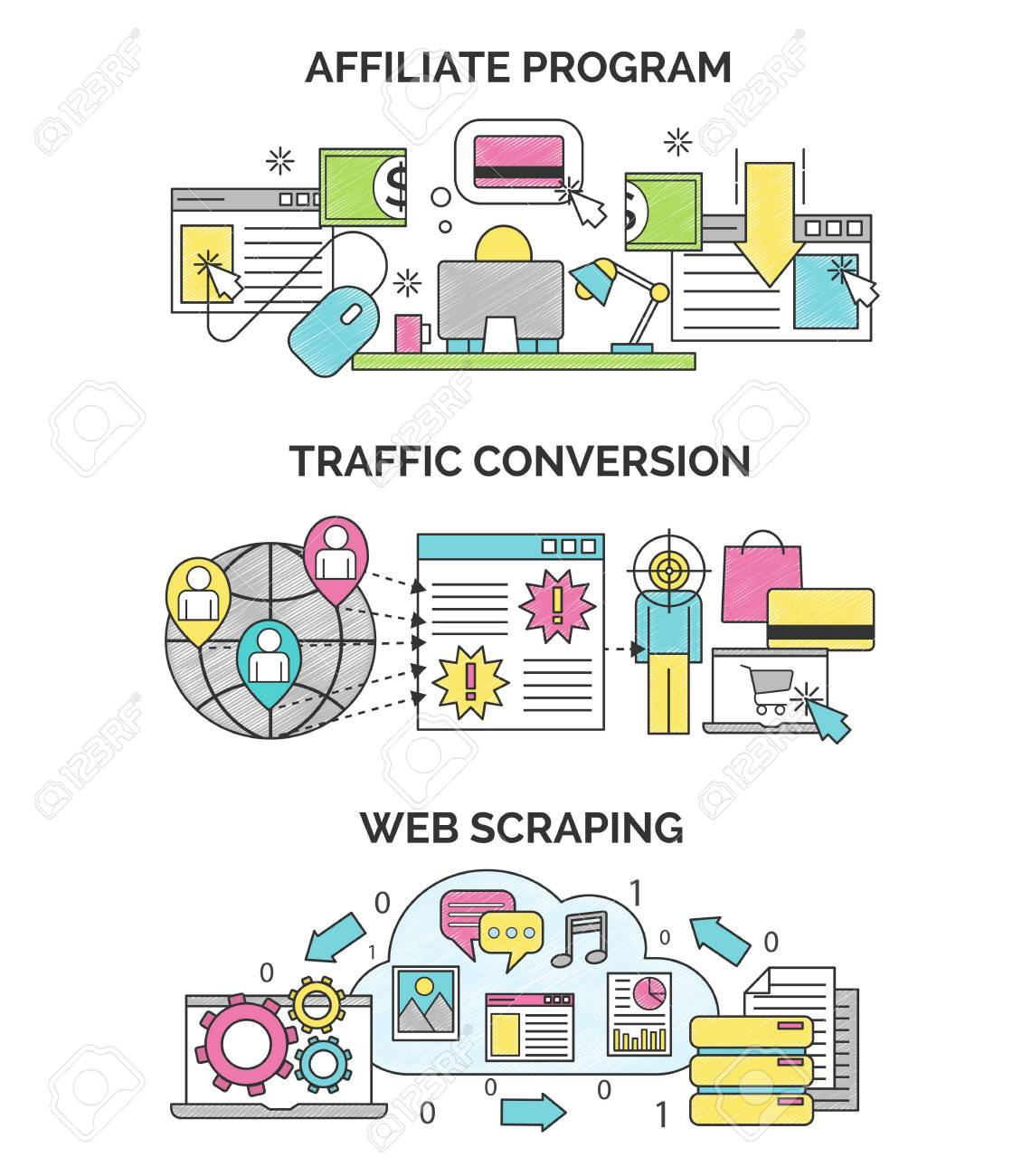 Three scribble illustrations for internet marketing and seo optimization