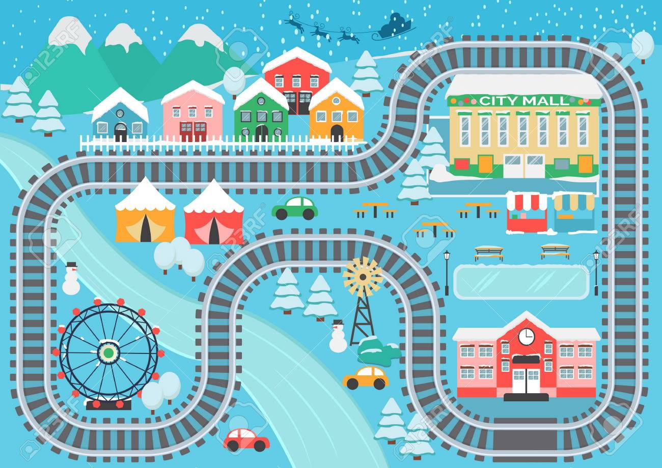 Lovely snowy city landscape train railroad play mat for children activity and entertainment. - 77020892