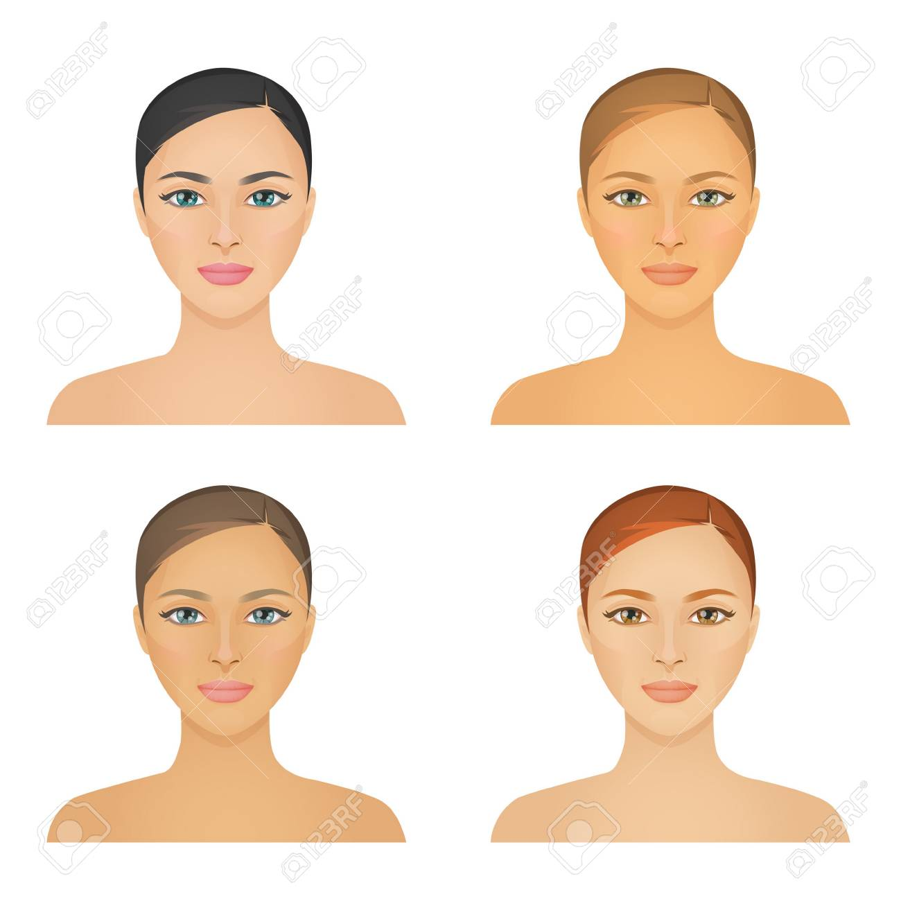 Human appearence information chart showing various kinds of women looks color types, hight and low contrast types, various skintones, hair and eyes. - 83921013