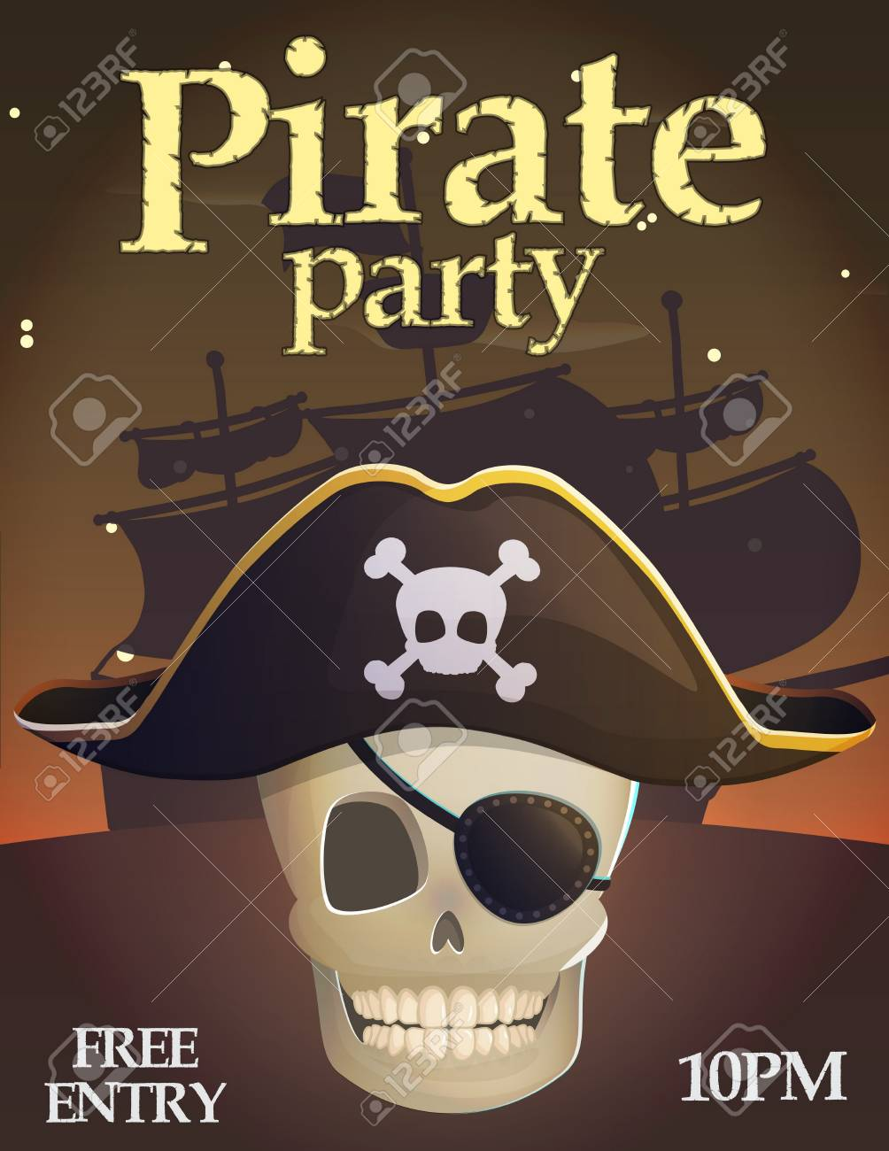 Pirate party invitation celebration card template captain scull pirate party invitation celebration card template captain scull deadly ghost bones in pirate hat stopboris Image collections