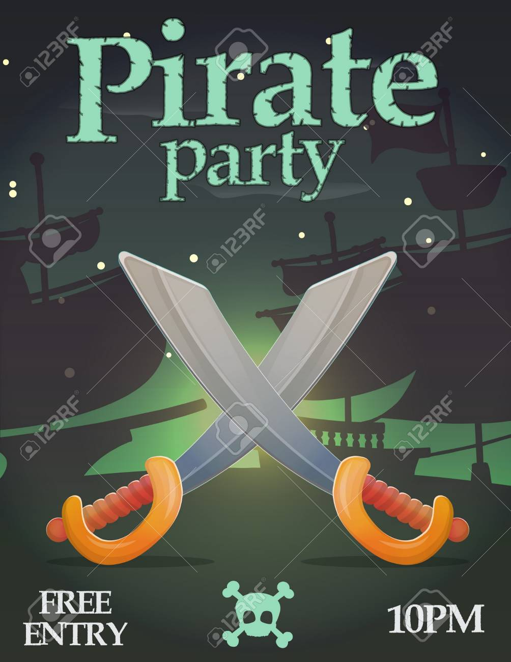 Pirate Party Invitation Celebration Card Template Deadly Weapon Sword Saber Crossed In Front Of