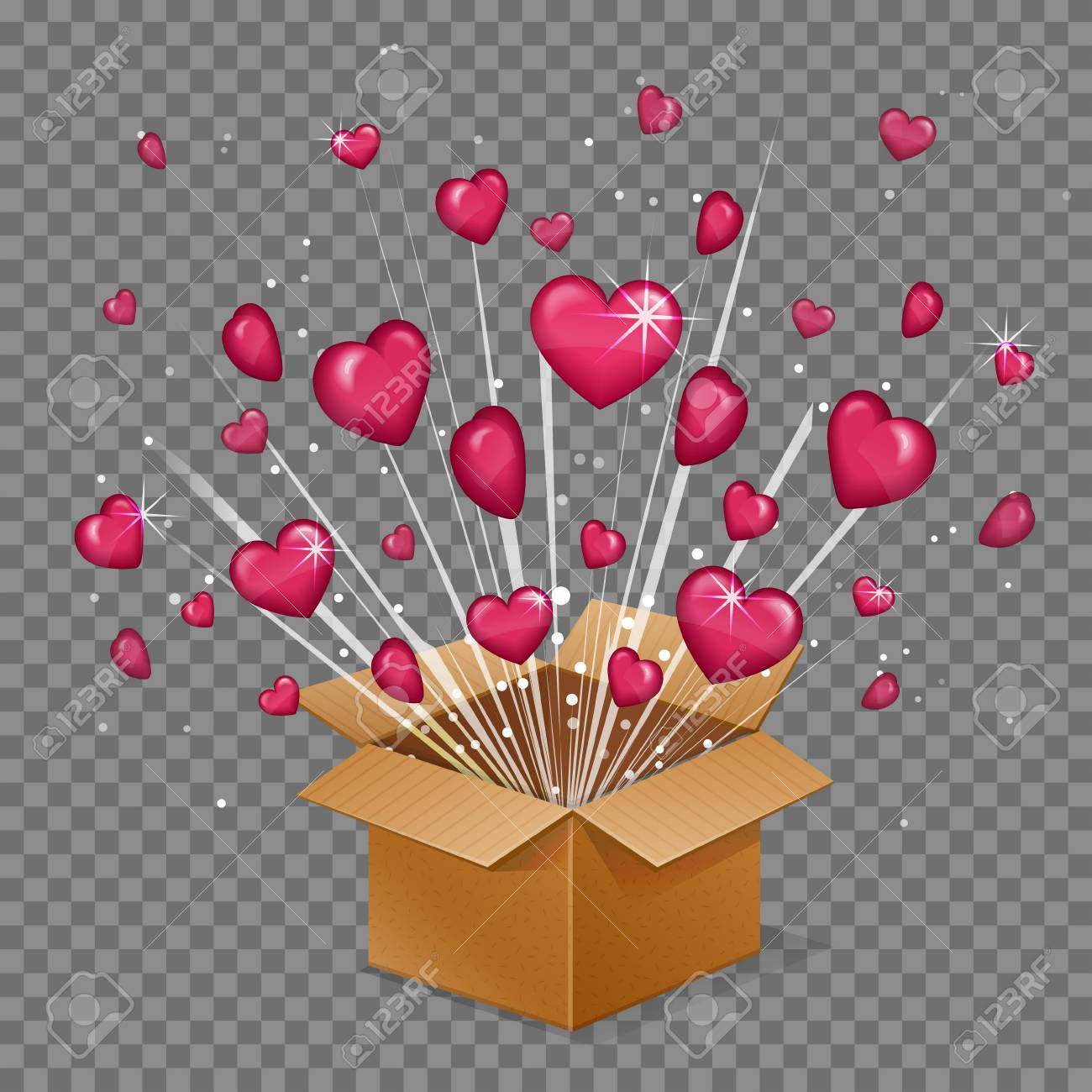 Unboxing Present Gift Surprise Love Box Heart Light Beam Lence