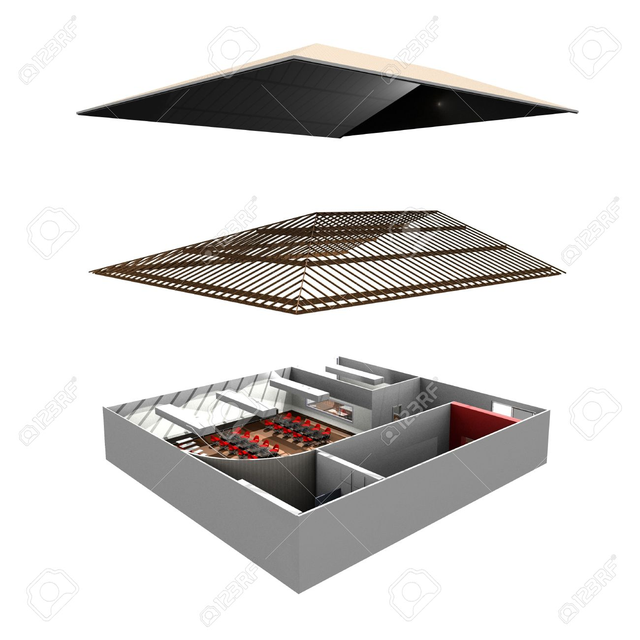 Exploded view of commercial building Stock Photo - 4955697