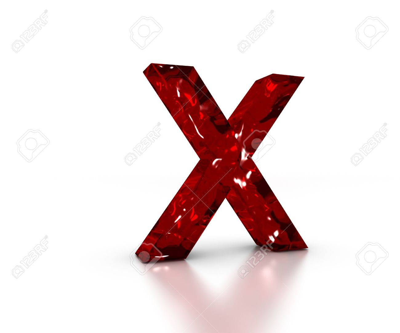 Red 3D glass Letter X in perspective on white background Stock Photo - 4992584