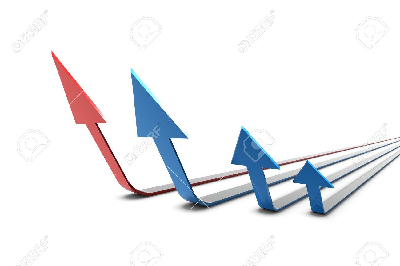 3D Arrows in red and blue standing in formation on white background Stock Photo - 5047990