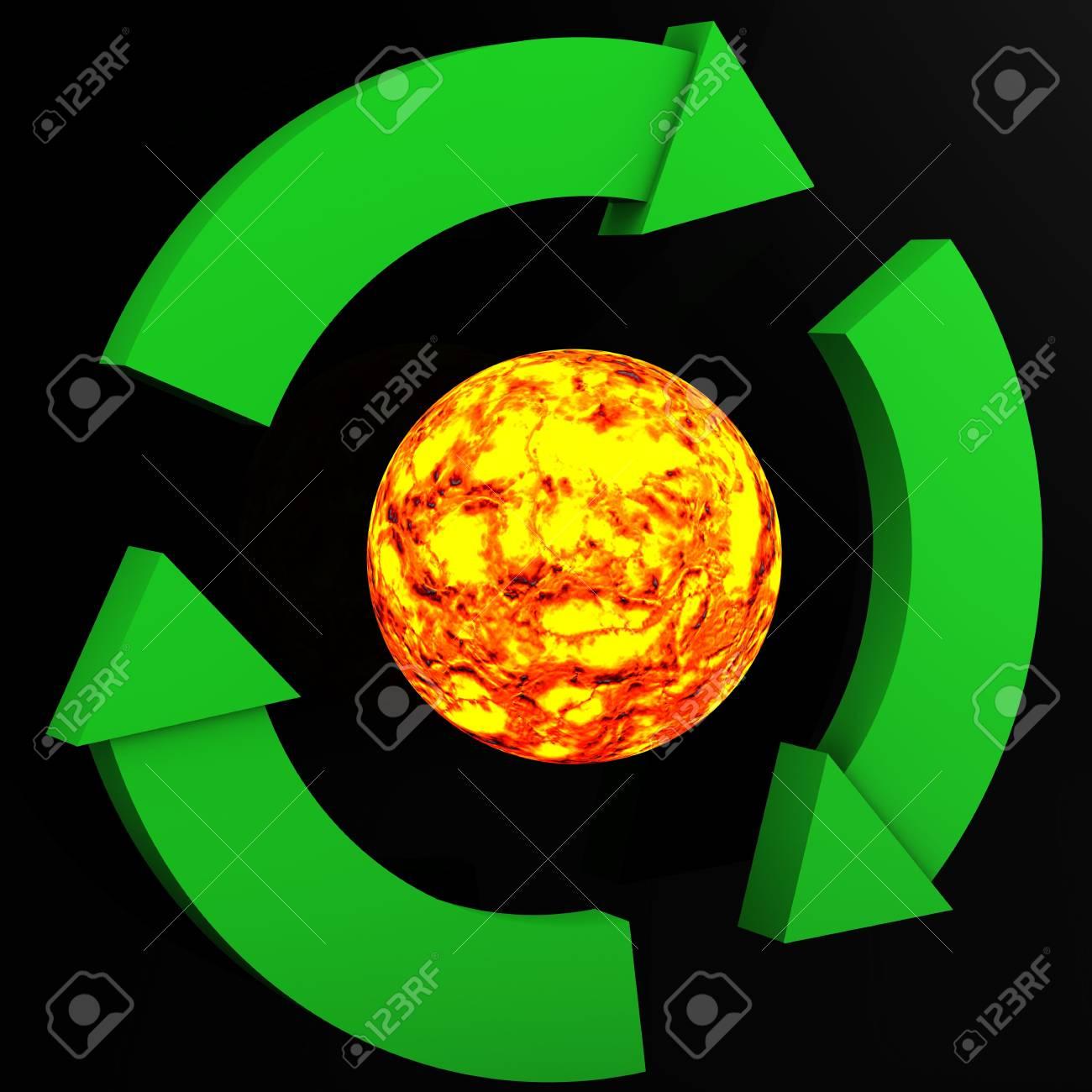Environmetal sign surrounding sun on black background Stock Photo - 5047998