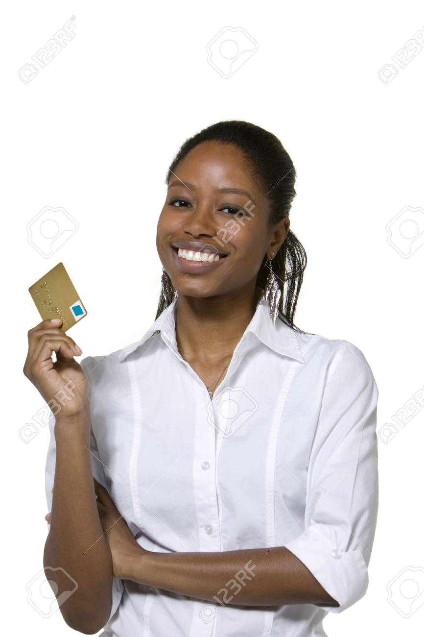 Portrait of businesswoman holding credit card Stock Photo - 4517870