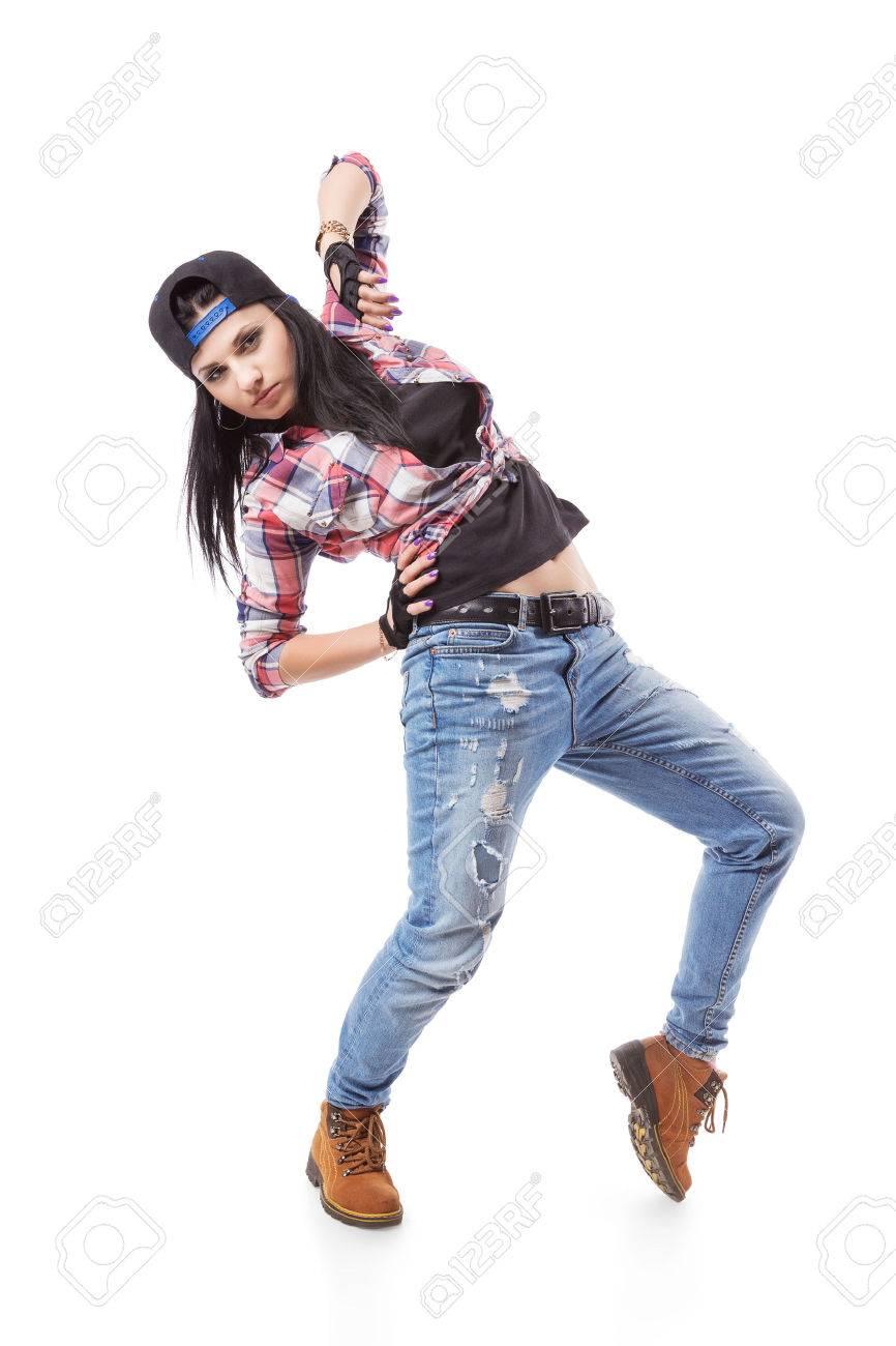 Bien connu Moderne Danse Hip-hop Fille Pose Sur Fond Isolé. Breakdance Go-go  TW84