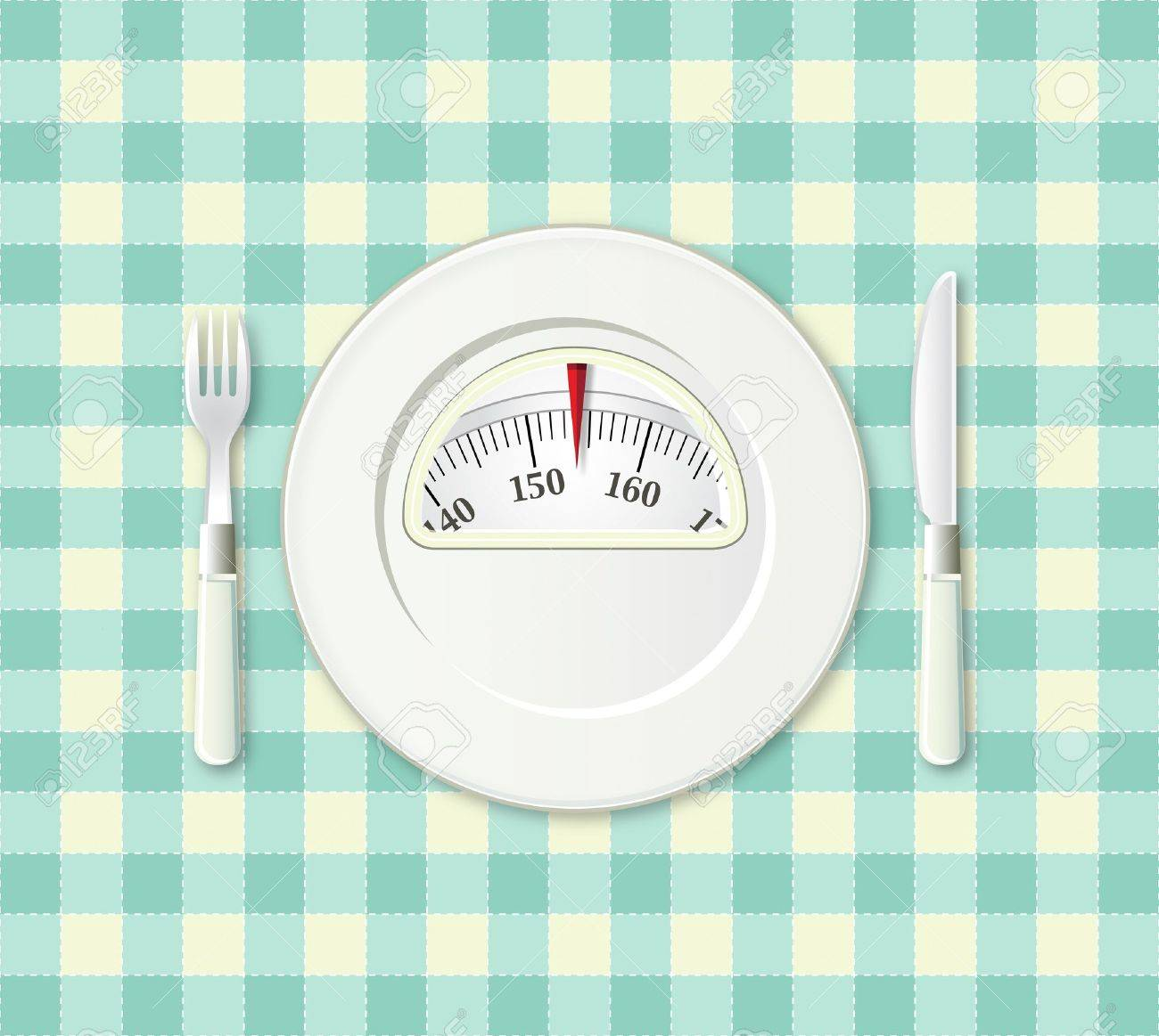 Plate with fork and knife on a plaid with a weight balance scale integrated in the plate Stock Photo - 12983091