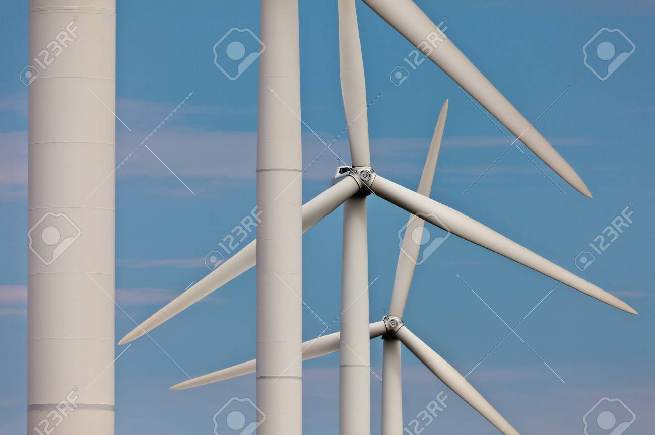 Detailed view of a row of windturbines Stock Photo - 12983099