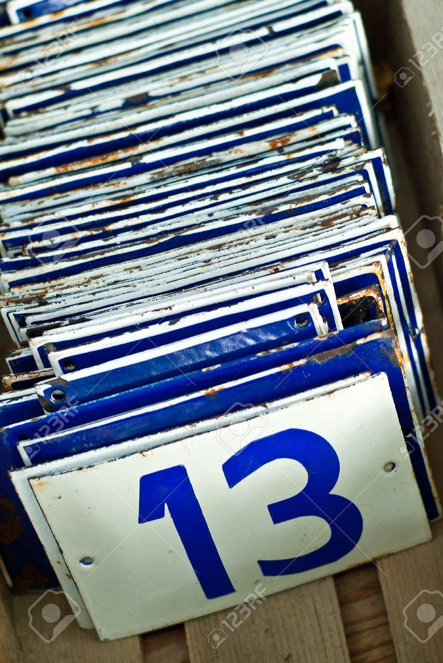 Enamel number plates at an antique shop with the number thirteen in front Stock Photo - & Enamel Number Plates At An Antique Shop With The Number Thirteen ...