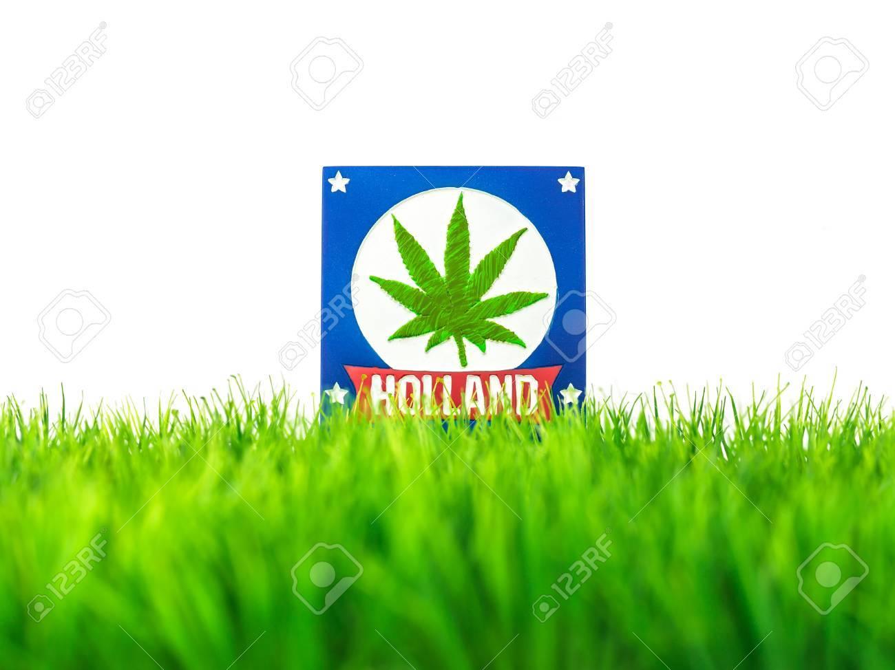 Dutch souvenir tile on grass with marijuana symbol isolated on white Stock Photo - 15612416