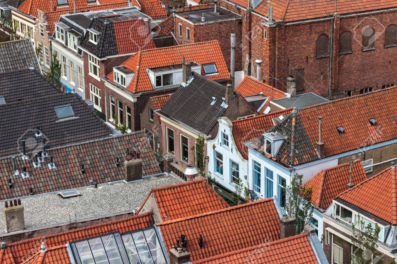 Aerial view of the historic city Delft in The Netherlands Stock Photo - 16029173