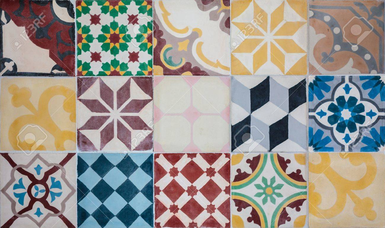 Colorful set of ornamental tiles from Portugal Stock Photo - 16029166