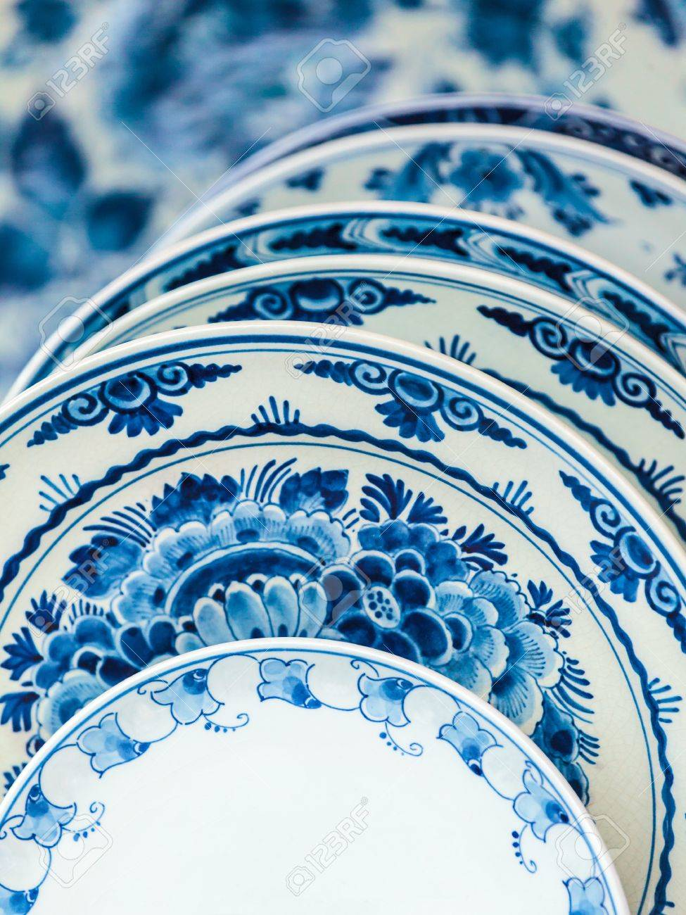 Ancient Dutch porcelain blue and white dishware from Delft Stock Photo - 18033071