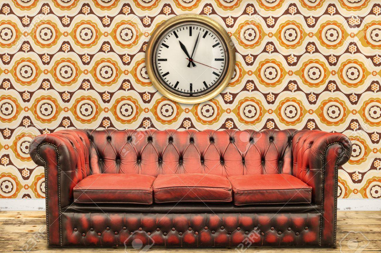 Old Sofa Retro Styled Image Of An Old Sofa And Clock Against A Vintage