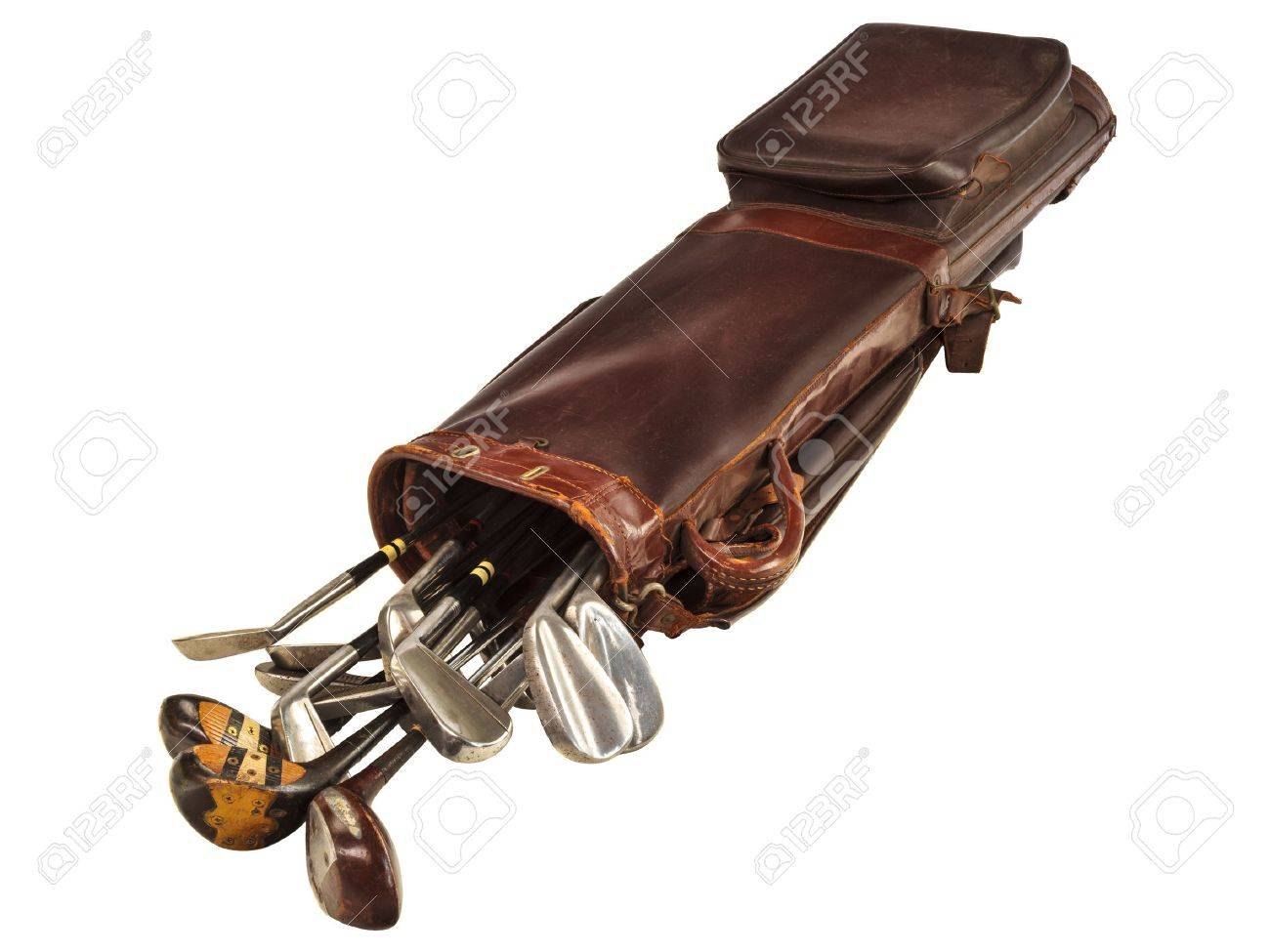 Antique brown leather bag with steel and wooden golf clubs isolated on a white background Stock Photo - 19795887