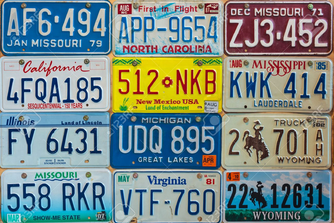 DREMPT - NOVEMBER 15 Vintage Car License Plates On A Wall On.. Stock ...